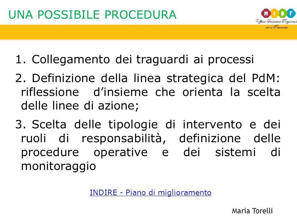 Ufficio Scolastico Regionale per il Piemonte UNA POSSIBILE PROCEDURA Maria Torelli 1.Collegamento dei traguardi ai processi 2.Definizione della linea