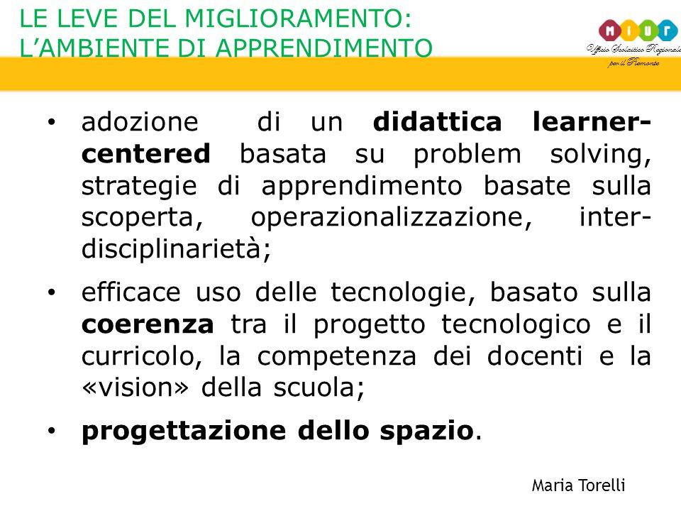 Ufficio Scolastico Regionale per il Piemonte LE LEVE DEL MIGLIORAMENTO: L'AMBIENTE DI APPRENDIMENTO Maria Torelli adozione di un didattica learner- ce