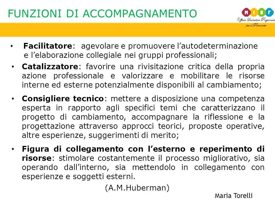 Ufficio Scolastico Regionale per il Piemonte FUNZIONI DI ACCOMPAGNAMENTO Maria Torelli Facilitatore: agevolare e promuovere l'autodeterminazione e l'e