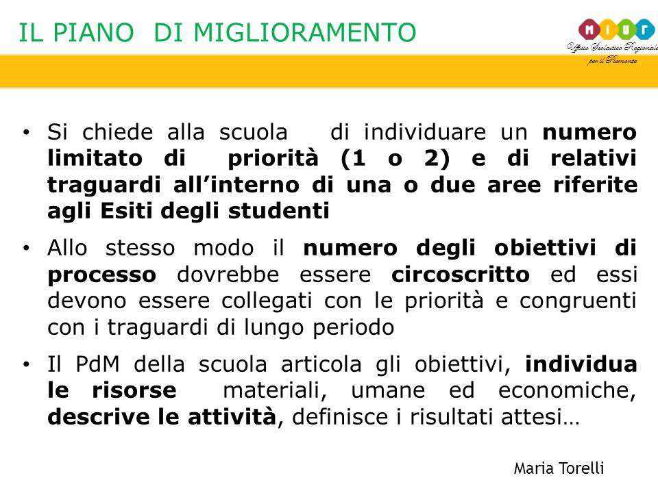 Ufficio Scolastico Regionale per il Piemonte IL PIANO DI MIGLIORAMENTO Si chiede alla scuola di individuare un numero limitato di priorità (1 o 2) e d