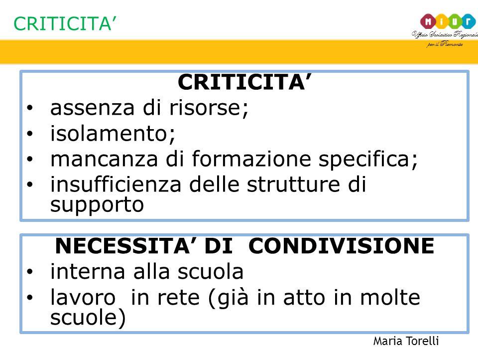 Ufficio Scolastico Regionale per il Piemonte CRITICITA' Maria Torelli CRITICITA' assenza di risorse; isolamento; mancanza di formazione specifica; ins