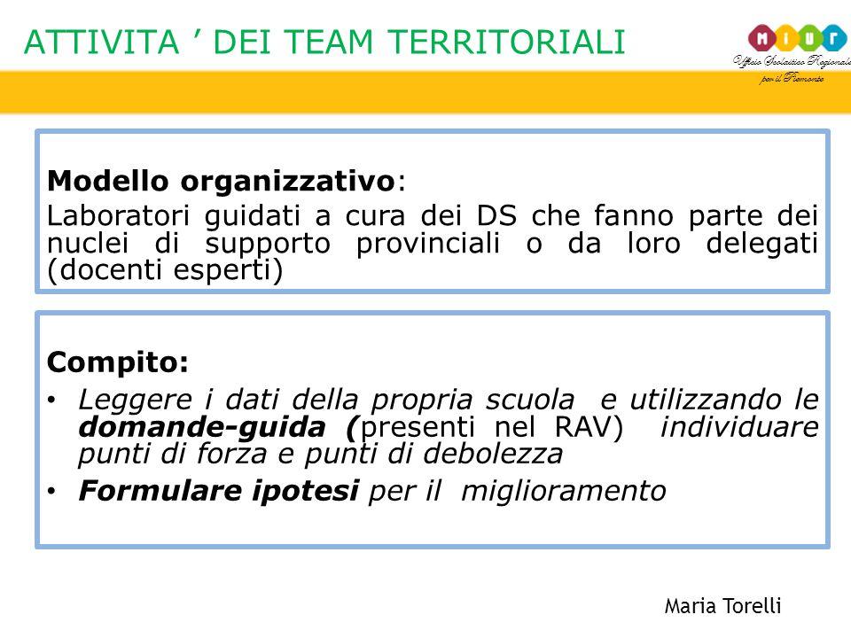 Ufficio Scolastico Regionale per il Piemonte ATTIVITA ' DEI TEAM TERRITORIALI Maria Torelli Modello organizzativo: Laboratori guidati a cura dei DS ch