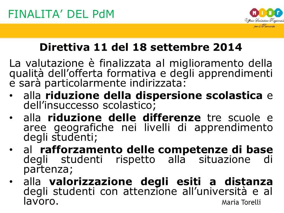 Ufficio Scolastico Regionale per il Piemonte FINALITA' DEL PdM Maria Torelli Direttiva 11 del 18 settembre 2014 La valutazione è finalizzata al miglio