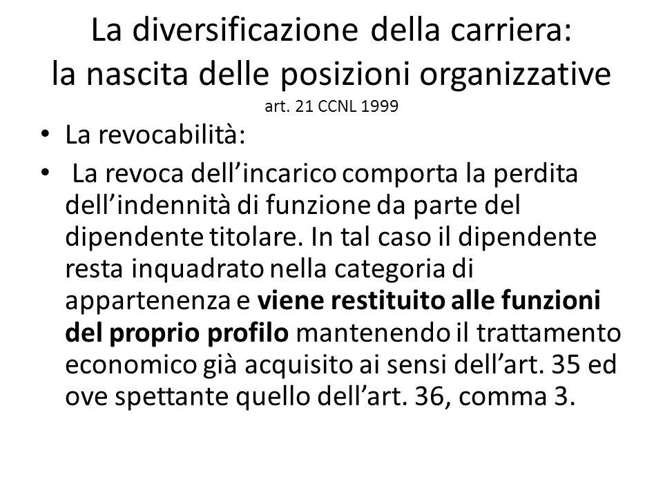 La diversificazione della carriera: la nascita delle posizioni organizzative art. 21 CCNL 1999 La revocabilità: La revoca dell'incarico comporta la pe