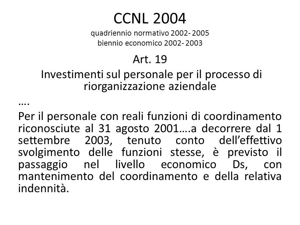CCNL 2004 quadriennio normativo 2002- 2005 biennio economico 2002- 2003 Art. 19 Investimenti sul personale per il processo di riorganizzazione azienda