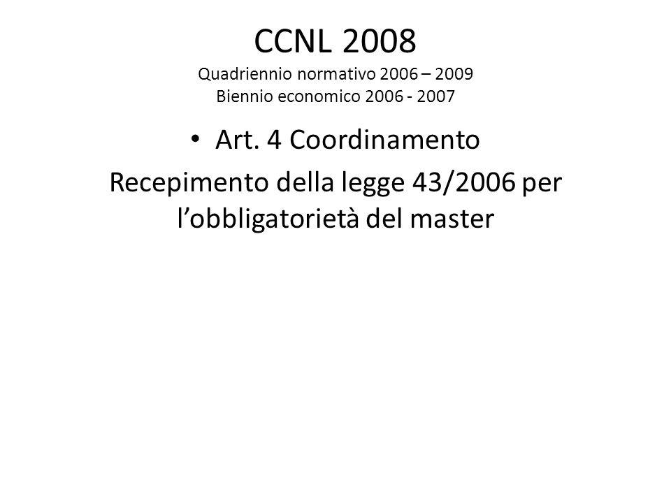 CCNL 2008 Quadriennio normativo 2006 – 2009 Biennio economico 2006 - 2007 Art. 4 Coordinamento Recepimento della legge 43/2006 per l'obbligatorietà de