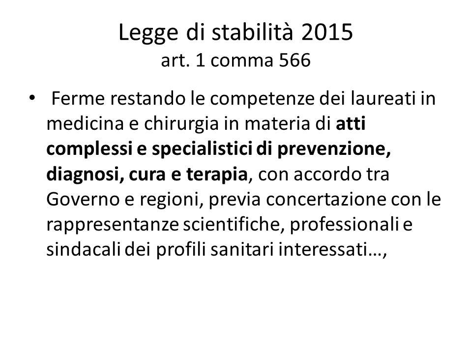 Legge di stabilità 2015 art. 1 comma 566 Ferme restando le competenze dei laureati in medicina e chirurgia in materia di atti complessi e specialistic