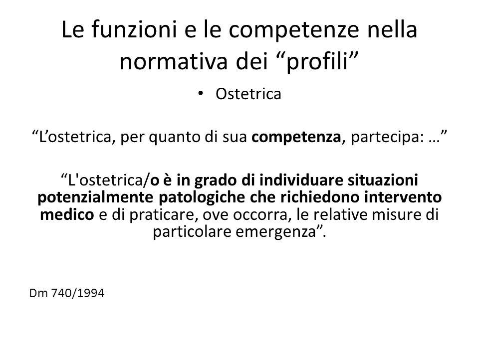 """Le funzioni e le competenze nella normativa dei """"profili"""" Ostetrica """"L'ostetrica, per quanto di sua competenza, partecipa: …"""" """"L'ostetrica/o è in grad"""