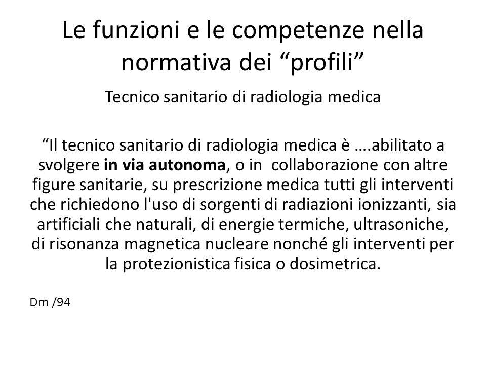 """Le funzioni e le competenze nella normativa dei """"profili"""" Tecnico sanitario di radiologia medica """"Il tecnico sanitario di radiologia medica è ….abilit"""