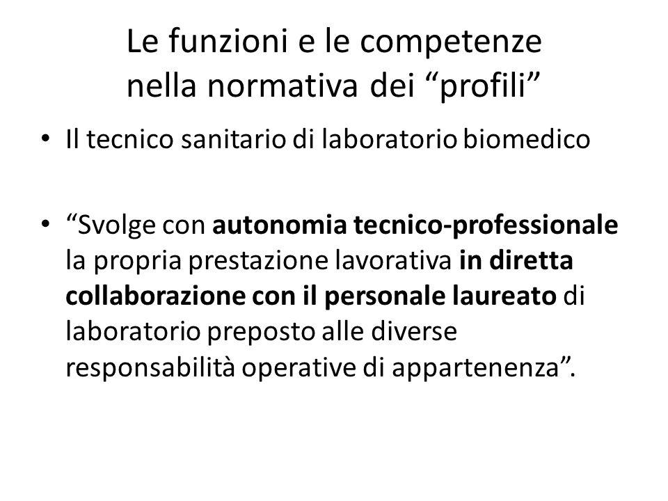 """Le funzioni e le competenze nella normativa dei """"profili"""" Il tecnico sanitario di laboratorio biomedico """"Svolge con autonomia tecnico-professionale la"""
