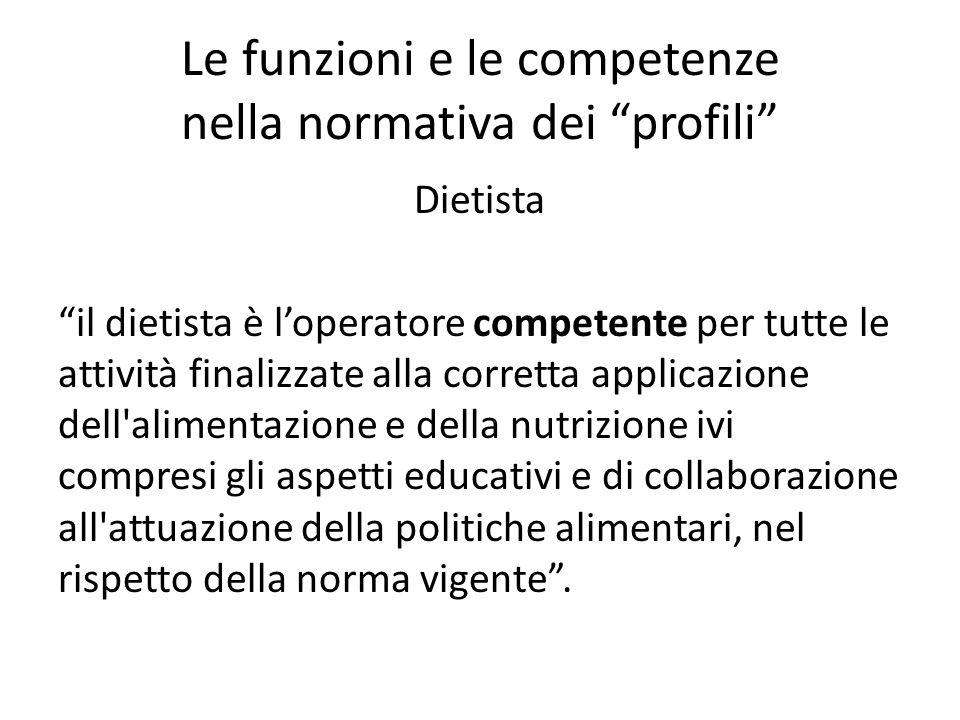 """Le funzioni e le competenze nella normativa dei """"profili"""" Dietista """"il dietista è l'operatore competente per tutte le attività finalizzate alla corret"""