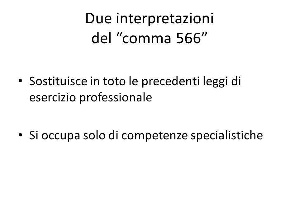 Due interpretazioni del comma 566 Sostituisce in toto le precedenti leggi di esercizio professionale Si occupa solo di competenze specialistiche