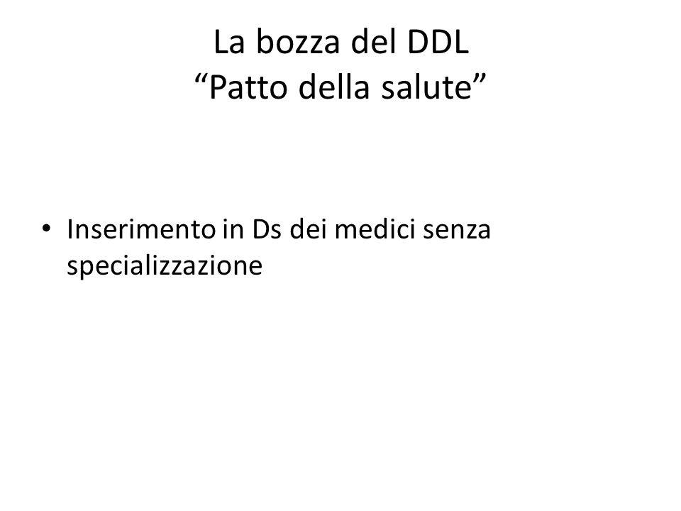 La bozza del DDL Patto della salute Inserimento in Ds dei medici senza specializzazione