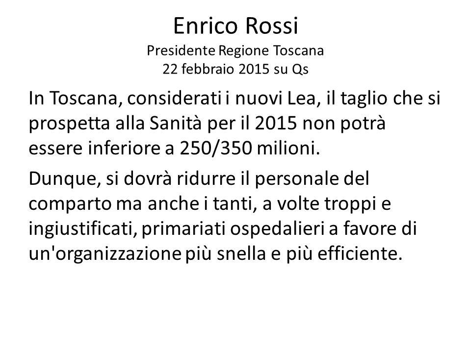 In Toscana, considerati i nuovi Lea, il taglio che si prospetta alla Sanità per il 2015 non potrà essere inferiore a 250/350 milioni. Dunque, si dovrà