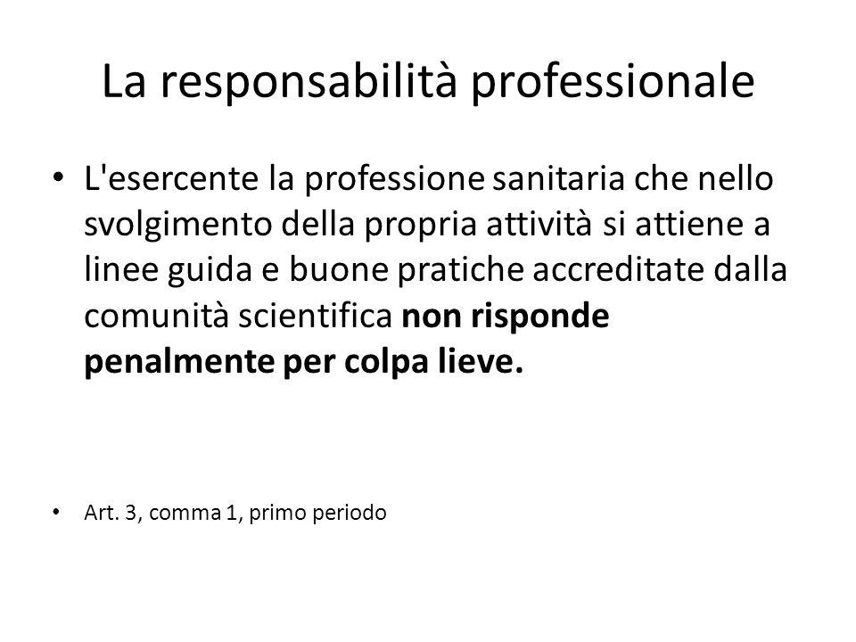 La responsabilità professionale L esercente la professione sanitaria che nello svolgimento della propria attività si attiene a linee guida e buone pratiche accreditate dalla comunità scientifica non risponde penalmente per colpa lieve.