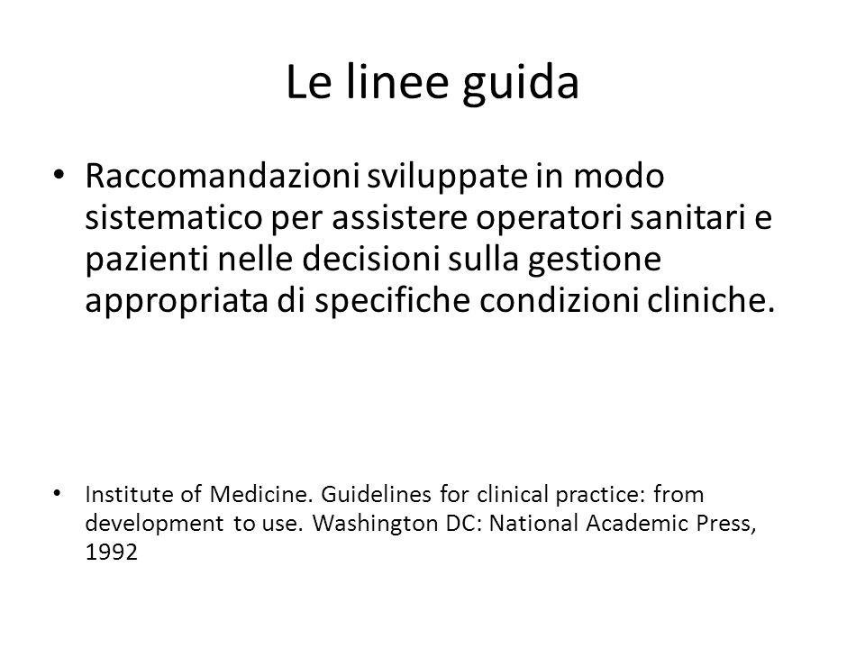 Le linee guida Raccomandazioni sviluppate in modo sistematico per assistere operatori sanitari e pazienti nelle decisioni sulla gestione appropriata di specifiche condizioni cliniche.