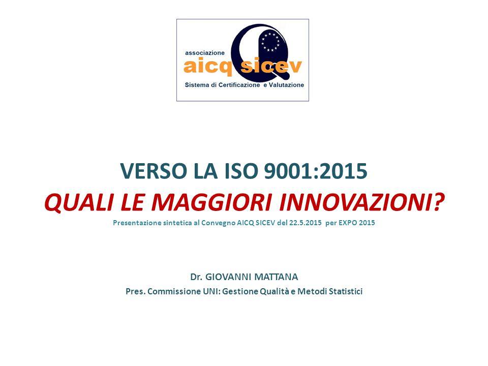 VERSO LA ISO 9001:2015 QUALI LE MAGGIORI INNOVAZIONI? Presentazione sintetica al Convegno AICQ SICEV del 22.5.2015 per EXPO 2015 Dr. GIOVANNI MATTANA