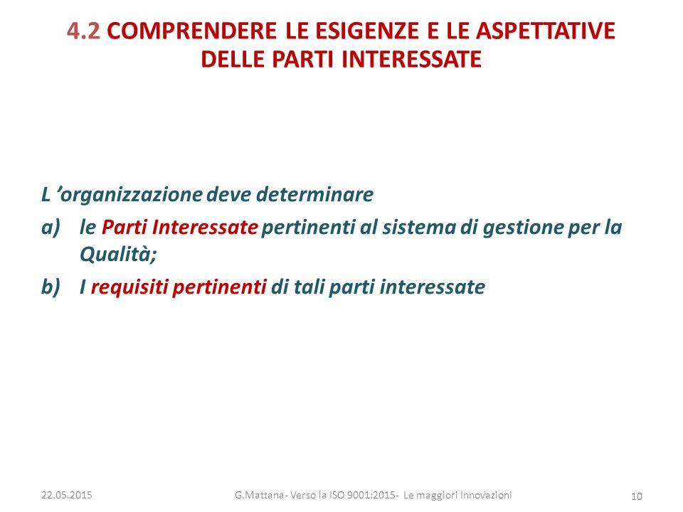 4.2 COMPRENDERE LE ESIGENZE E LE ASPETTATIVE DELLE PARTI INTERESSATE L 'organizzazione deve determinare a)le Parti Interessate pertinenti al sistema d