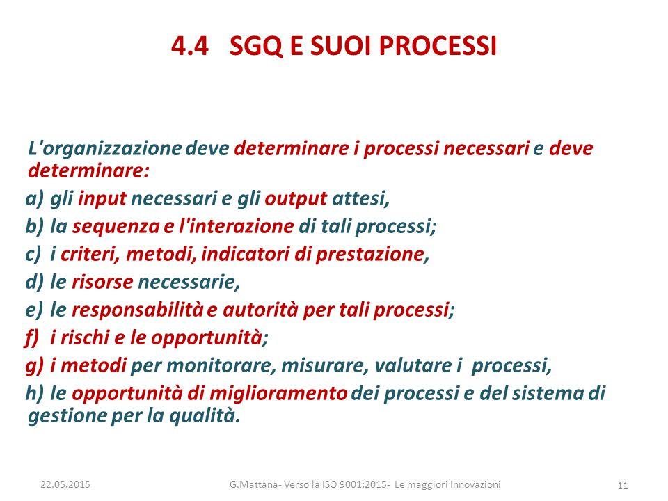 4.4 SGQ E SUOI PROCESSI L'organizzazione deve determinare i processi necessari e deve determinare: a)gli input necessari e gli output attesi, b)la seq