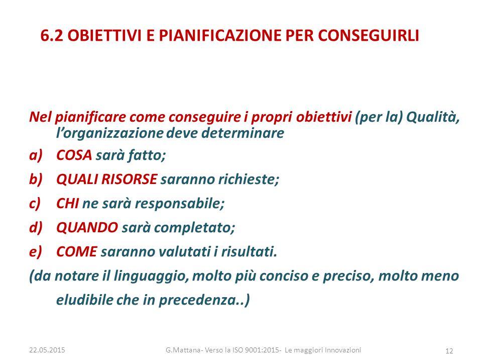 6.2 OBIETTIVI E PIANIFICAZIONE PER CONSEGUIRLI Nel pianificare come conseguire i propri obiettivi (per la) Qualità, l'organizzazione deve determinare