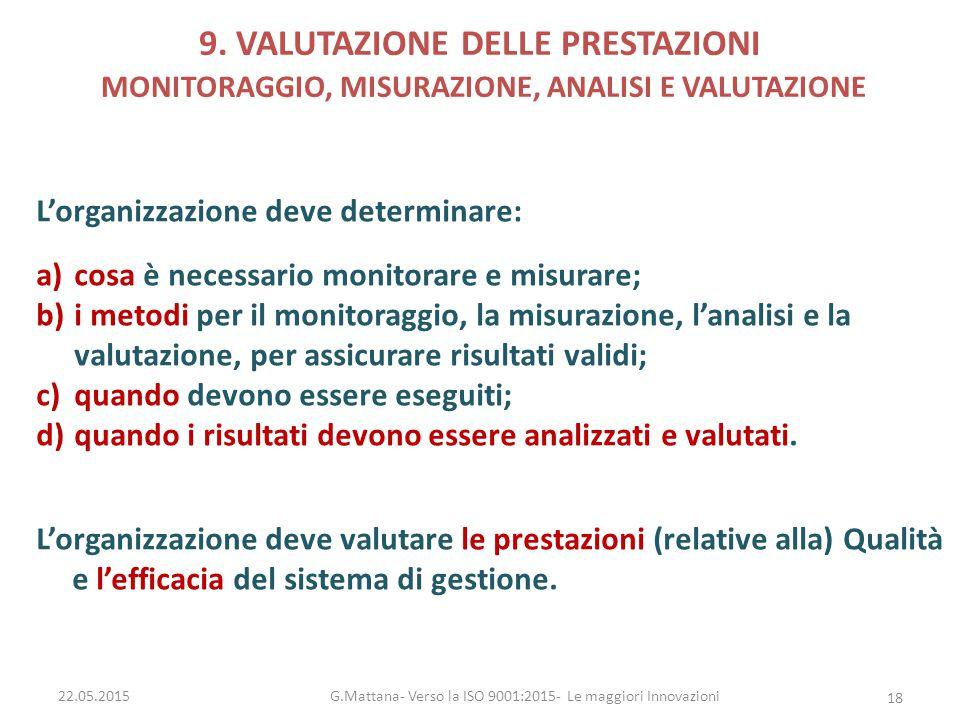9. VALUTAZIONE DELLE PRESTAZIONI MONITORAGGIO, MISURAZIONE, ANALISI E VALUTAZIONE L'organizzazione deve determinare: a)cosa è necessario monitorare e
