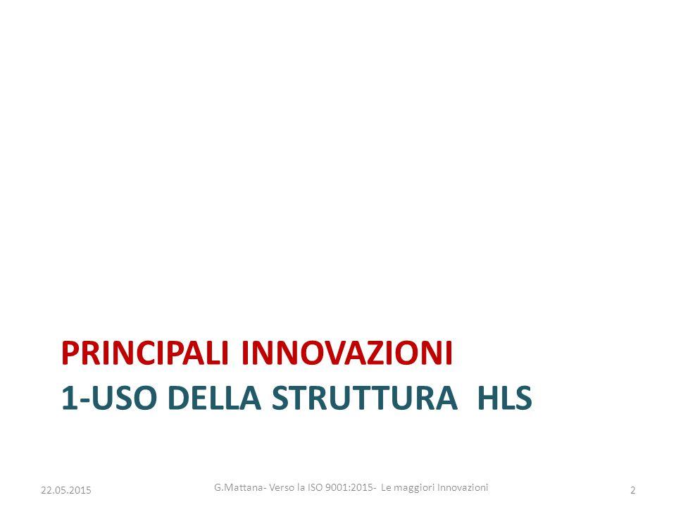 PRINCIPALI INNOVAZIONI 1-USO DELLA STRUTTURA HLS 2 G.Mattana- Verso la ISO 9001:2015- Le maggiori Innovazioni 22.05.2015