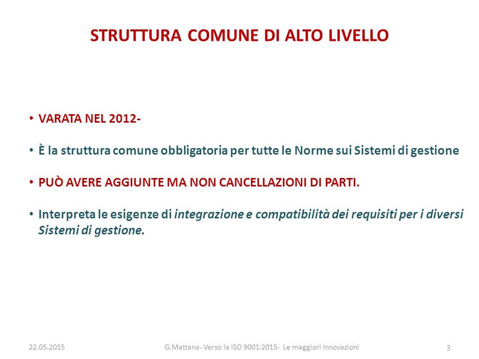 STRUTTURA COMUNE DI ALTO LIVELLO VARATA NEL 2012- È la struttura comune obbligatoria per tutte le Norme sui Sistemi di gestione PUÒ AVERE AGGIUNTE MA