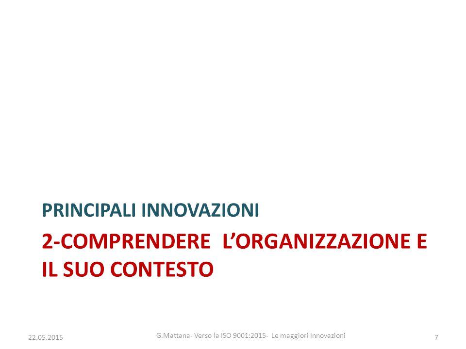 2-COMPRENDERE L'ORGANIZZAZIONE E IL SUO CONTESTO PRINCIPALI INNOVAZIONI 7 G.Mattana- Verso la ISO 9001:2015- Le maggiori Innovazioni 22.05.2015