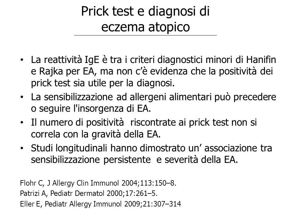 La reattività IgE è tra i criteri diagnostici minori di Hanifin e Rajka per EA, ma non c'è evidenza che la positività dei prick test sia utile per la
