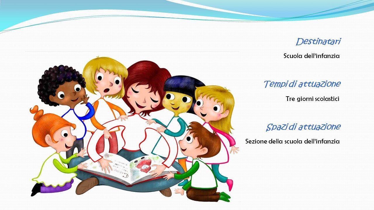 Destinatari Scuola dell'infanzia Tempi di attuazione Tre giorni scolastici Spazi di attuazione Sezione della scuola dell'infanzia