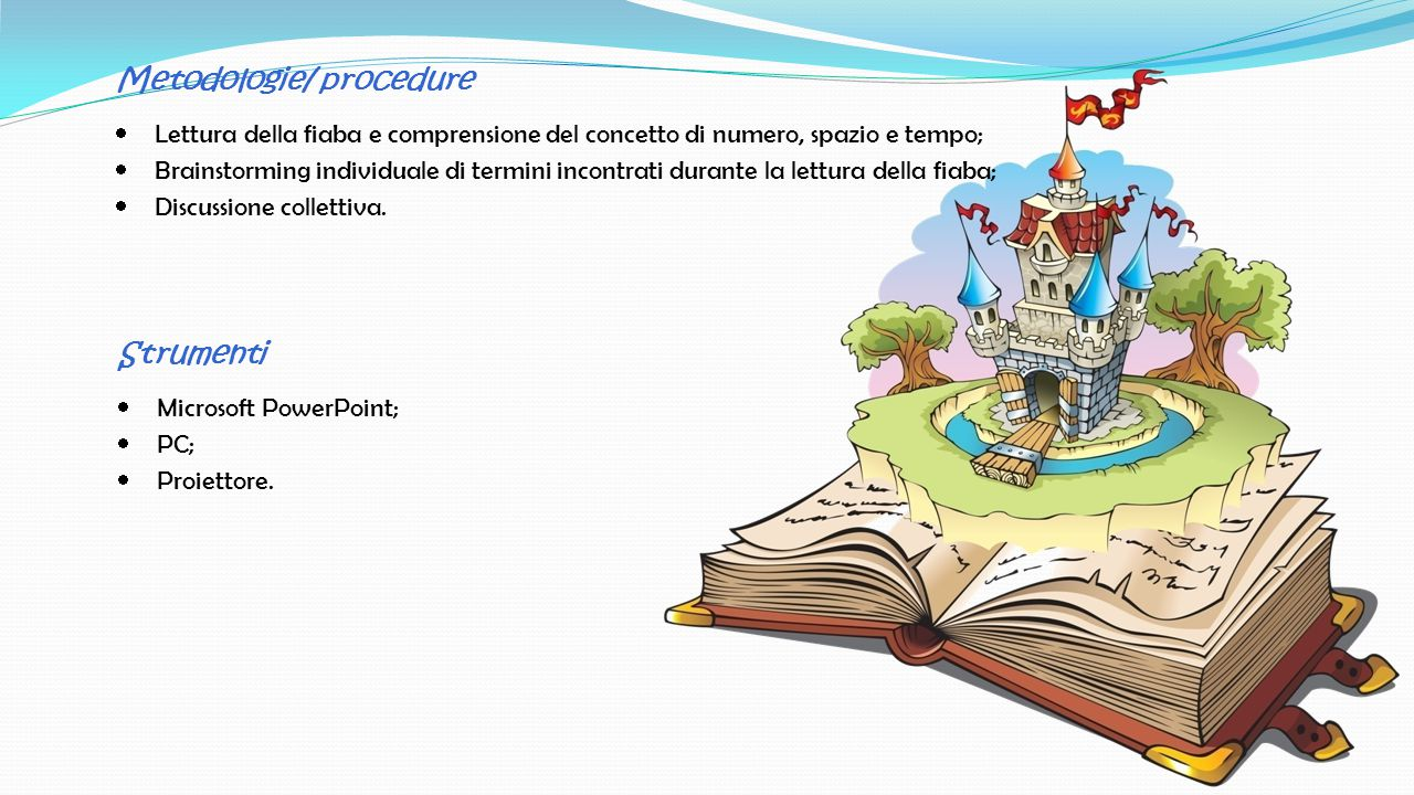 Metodologie/ procedure LLettura della fiaba e comprensione del concetto di numero, spazio e tempo; BBrainstorming individuale di termini incontrati durante la lettura della fiaba; DDiscussione collettiva.
