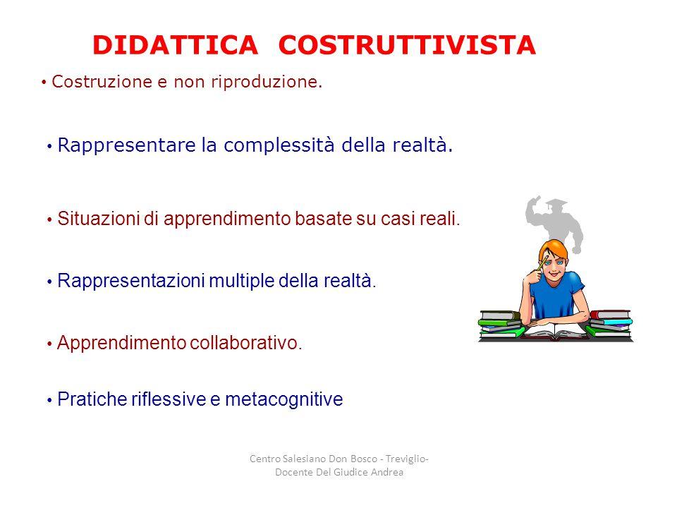 DIDATTICA COSTRUTTIVISTA Costruzione e non riproduzione. Rappresentare la complessità della realtà. Situazioni di apprendimento basate su casi reali.