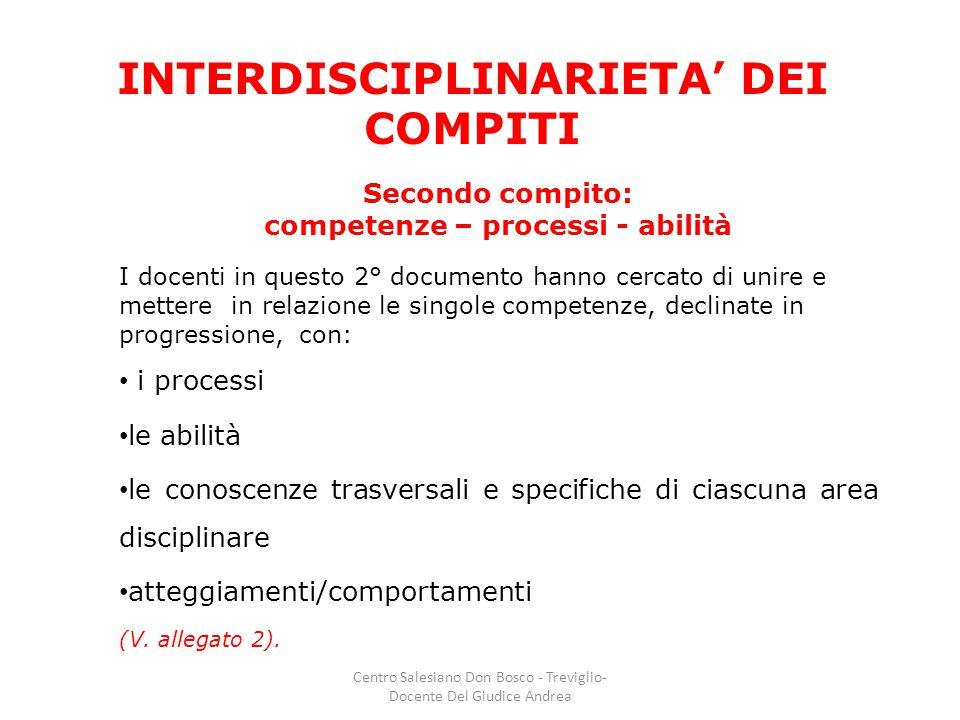 INTERDISCIPLINARIETA' DEI COMPITI Secondo compito: competenze – processi - abilità I docenti in questo 2° documento hanno cercato di unire e mettere i