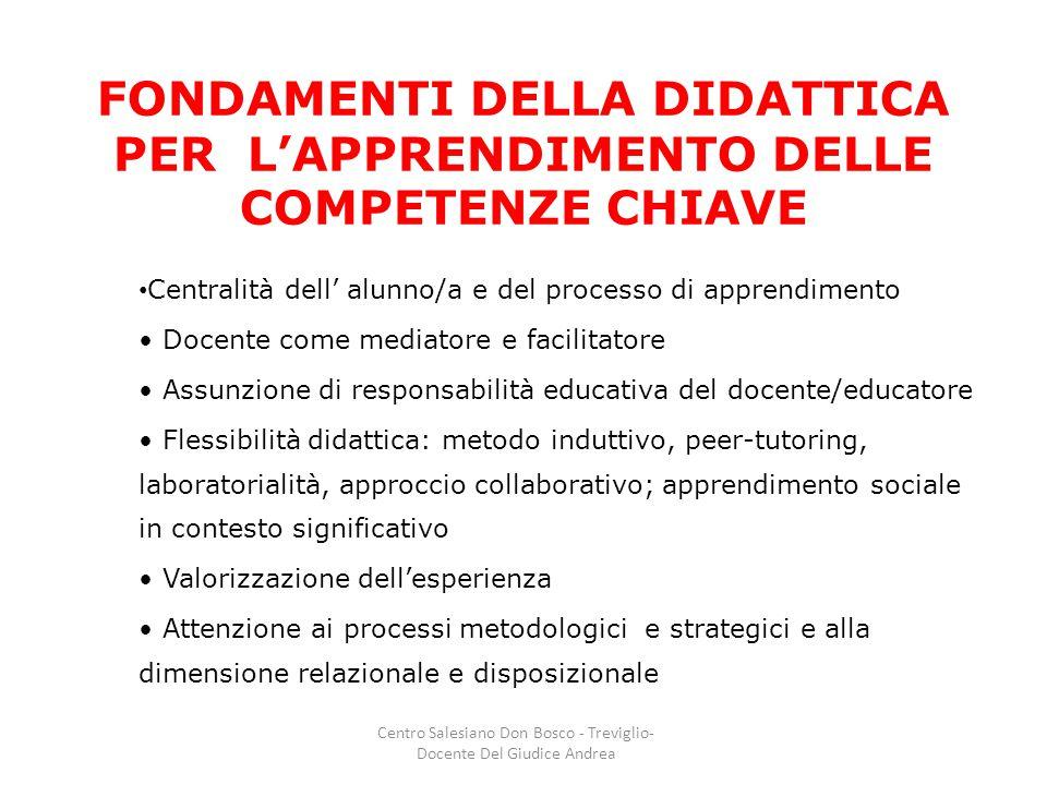 FONDAMENTI DELLA DIDATTICA PER L'APPRENDIMENTO DELLE COMPETENZE CHIAVE Centralità dell' alunno/a e del processo di apprendimento Docente come mediator