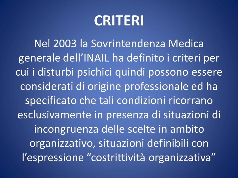 CRITERI Nel 2003 la Sovrintendenza Medica generale dell'INAIL ha definito i criteri per cui i disturbi psichici quindi possono essere considerati di o
