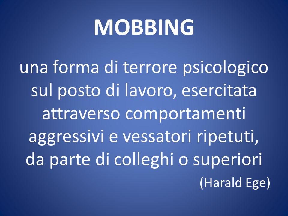 MOBBING Forma di molestia psicologica esercitata sul personale delle aziende, consistente nell'impedirgli di lavorare o nel porgli insopportabili costrizioni nello svolgimento del lavoro (Treccani)