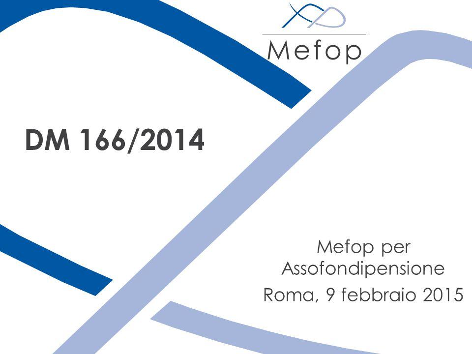 Mefop per Assofondipensione Roma, 9 febbraio 2015 DM 166/2014