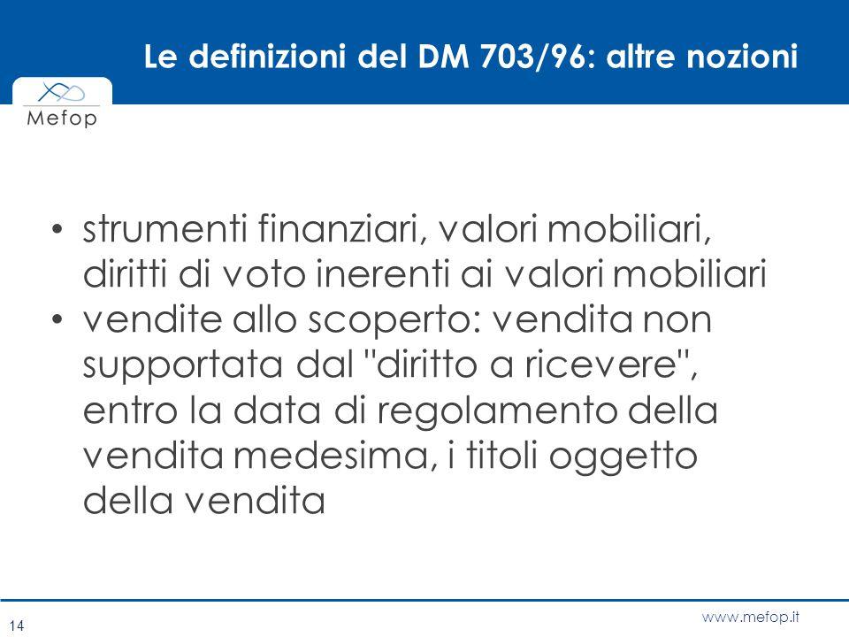 www.mefop.it Le definizioni del DM 703/96: altre nozioni strumenti finanziari, valori mobiliari, diritti di voto inerenti ai valori mobiliari vendite