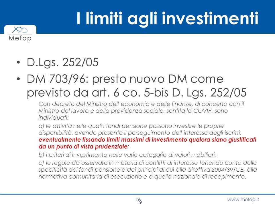 www.mefop.it I limiti agli investimenti D.Lgs. 252/05 DM 703/96: presto nuovo DM come previsto da art. 6 co. 5-bis D. Lgs. 252/05 Con decreto del Mini