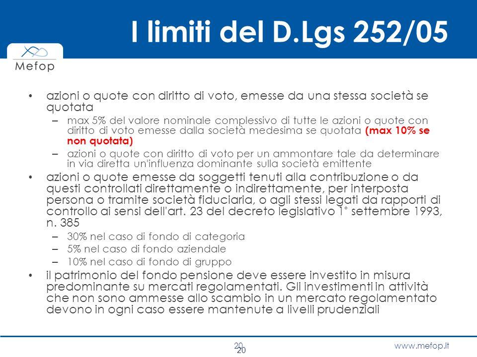 www.mefop.it I limiti del D.Lgs 252/05 azioni o quote con diritto di voto, emesse da una stessa società se quotata – max 5% del valore nominale comple