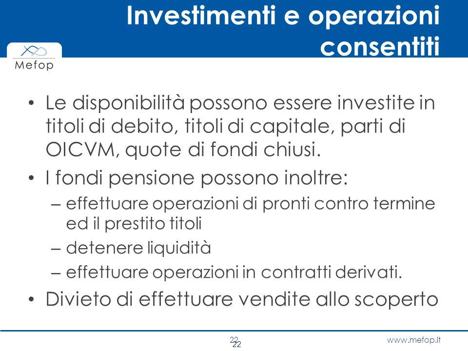 www.mefop.it 22 Investimenti e operazioni consentiti Le disponibilità possono essere investite in titoli di debito, titoli di capitale, parti di OICVM