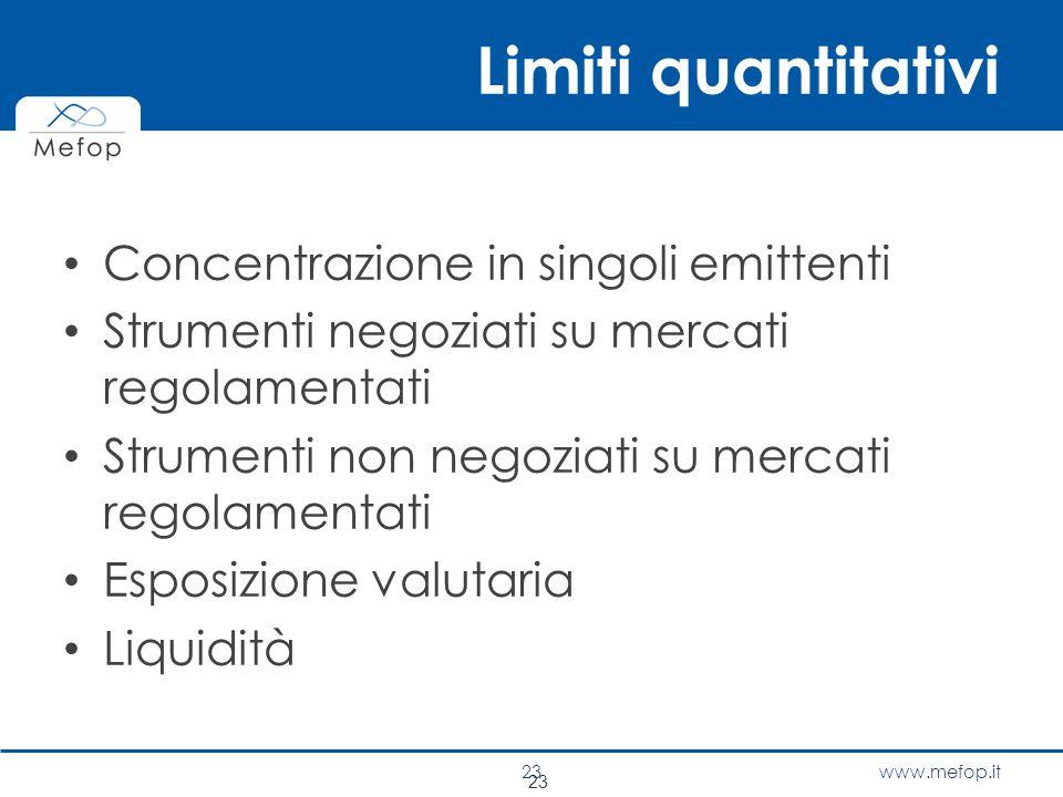 www.mefop.it 23 Limiti quantitativi Concentrazione in singoli emittenti Strumenti negoziati su mercati regolamentati Strumenti non negoziati su mercat