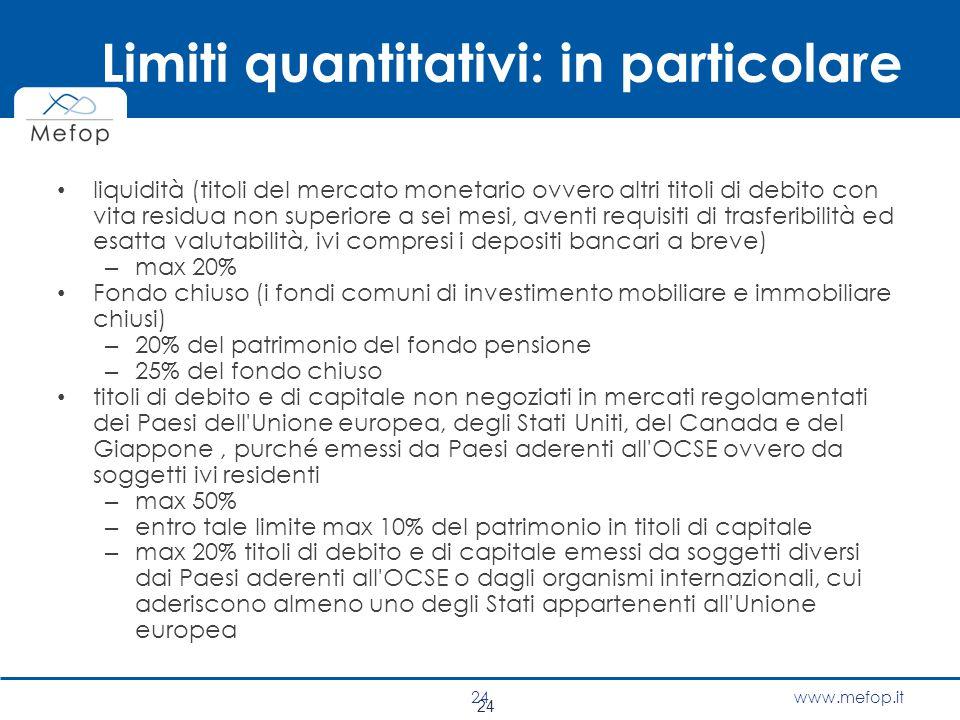 www.mefop.it Limiti quantitativi: in particolare liquidità (titoli del mercato monetario ovvero altri titoli di debito con vita residua non superiore