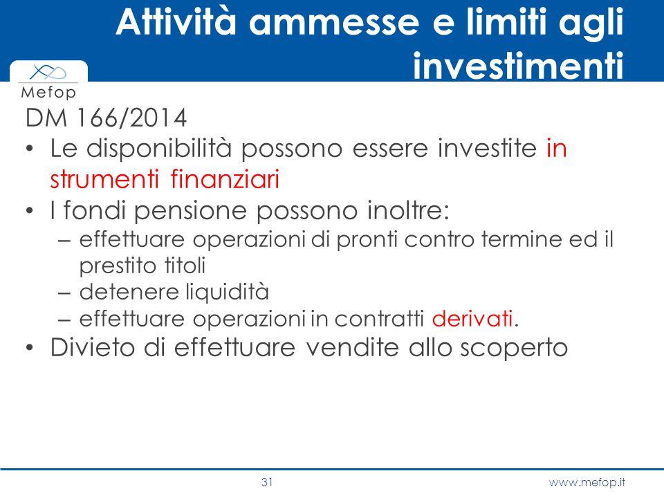 www.mefop.it DM 166/2014 Le disponibilità possono essere investite in strumenti finanziari I fondi pensione possono inoltre: – effettuare operazioni d