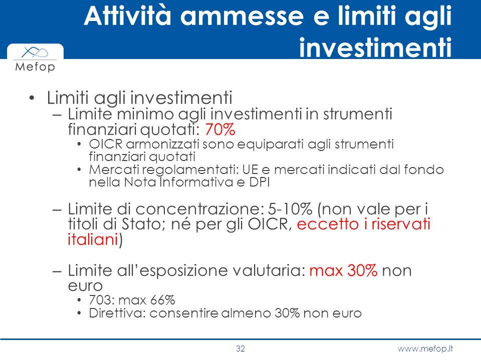 www.mefop.it Attività ammesse e limiti agli investimenti Limiti agli investimenti – Limite minimo agli investimenti in strumenti finanziari quotati: 7