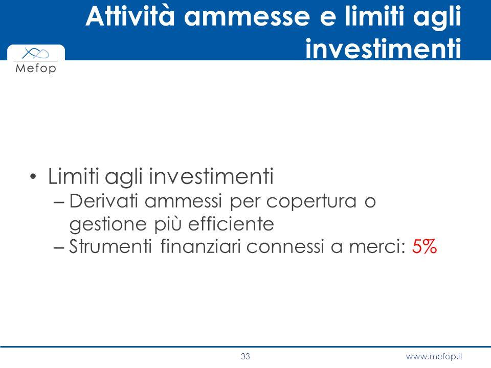 www.mefop.it Attività ammesse e limiti agli investimenti Limiti agli investimenti – Derivati ammessi per copertura o gestione più efficiente – Strumen