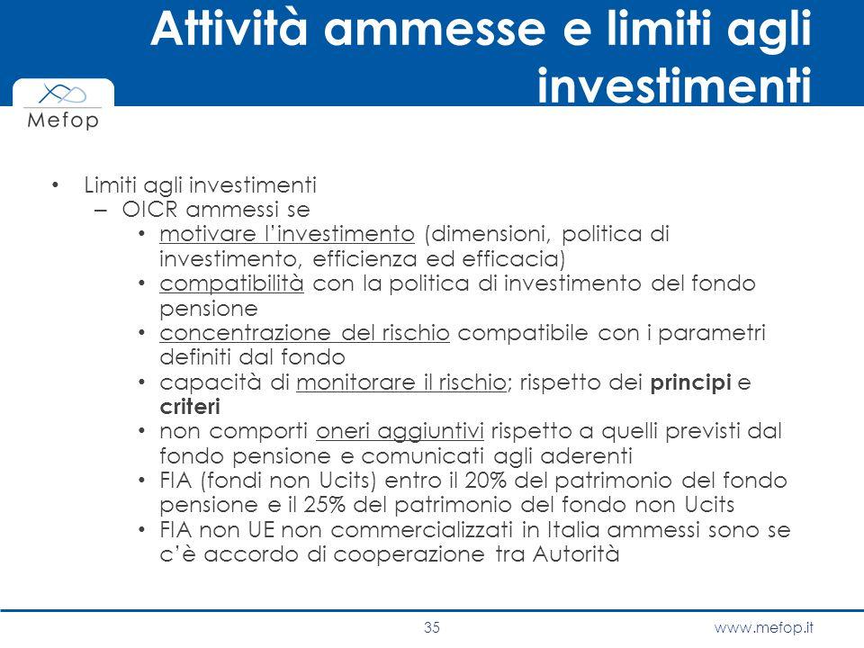 www.mefop.it Attività ammesse e limiti agli investimenti Limiti agli investimenti – OICR ammessi se motivare l'investimento (dimensioni, politica di i