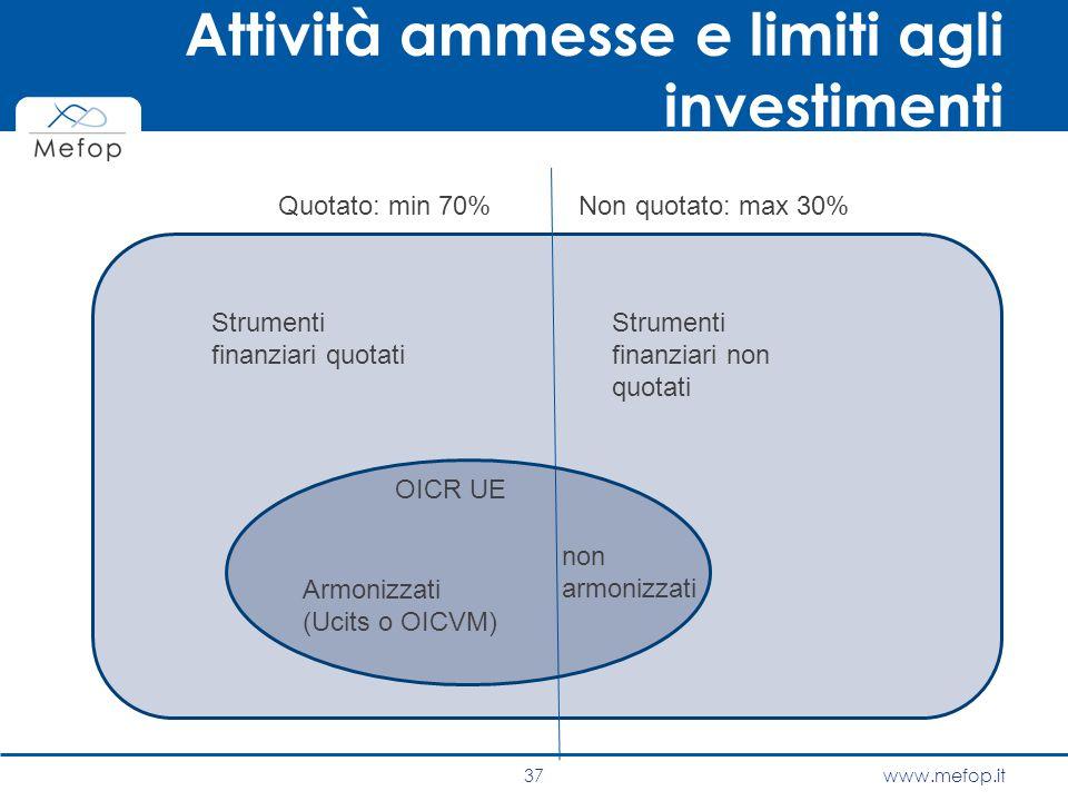 www.mefop.it Attività ammesse e limiti agli investimenti 37 Quotato: min 70%Non quotato: max 30% OICR UE non armonizzati Strumenti finanziari quotati