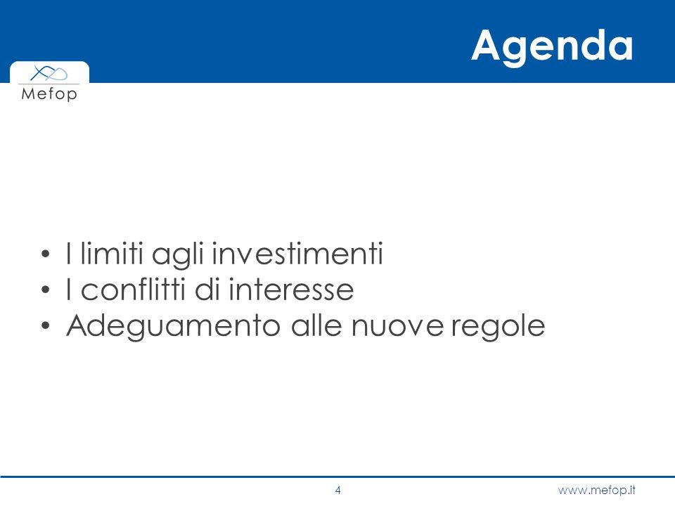 www.mefop.it Agenda I limiti agli investimenti I conflitti di interesse Adeguamento alle nuove regole 4