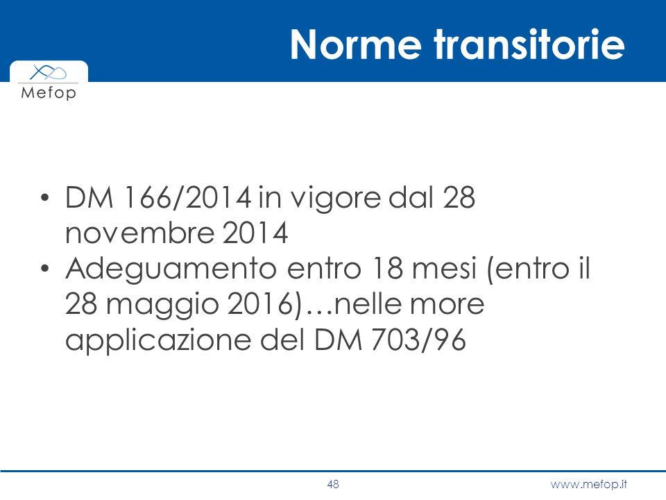 www.mefop.it Norme transitorie DM 166/2014 in vigore dal 28 novembre 2014 Adeguamento entro 18 mesi (entro il 28 maggio 2016)…nelle more applicazione
